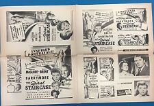 "SPIRAL STAIRCASE Barrymore vintage theater owners 12"" x 19"" ad sheet circa 1943"