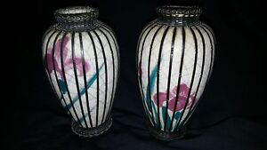 Pair of Early 20th C Meiji Period Crackle Vases with Silver Basket Weave 16 cm