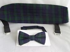 (A) TARTAN-Black/Green/Navy Cummerbund and Bow Tie Set - Watch More Patterns