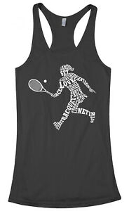 Womens Tennis Player Typography Women's Racerback Tank Top Gift Idea