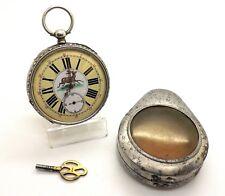 1880's KEY WIND SWISS POCKET WATCH W/ FANCY CUT MOVEMENT ~DOG CASE & DEER DIAL~