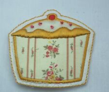 SHABBY CHIC BOHO CUPCAKE APPLIQUE 6cm Embroidered Sew Iron On Cloth Patch Badge
