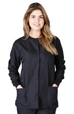 Natural Uniforms Women's Warm up Solid Scrub Jacket Small Black