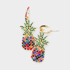 Designer Inspired Multi Color Rhinestone Pave Pineapple Pin Catch Earrings