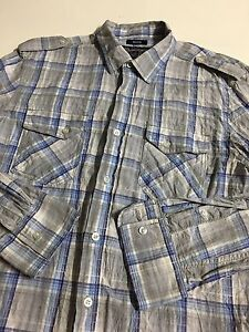 American Rag Cie Men's M Checks Pearl Snap Button Lightweight Long Sleeve Shirt