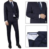 Vestito Uomo blu Completo Sartoriale Abito Casual Slim Cotone Elegante Cerimonia