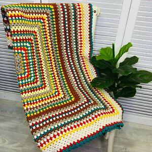 Vintage Hand Crochet Throw Knee Blanket Granny Squares Multicoloured