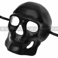 Shiny Black Halloween Skull Full Face Mask Masquerade Party Day of the Dead DIY