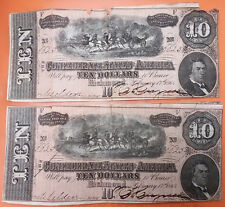 1864 Lot of 2 CONSECUTIVE Real Confederate Currency $10 Bills w/Horses CIVIL WAR