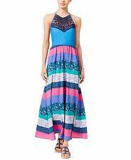 2204-1Tommy Hilfiger Women's Blue Printed Crochet-detail Maxi Dress Small $149