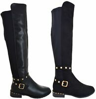 LADIES WOMENS OVER THE KNEE HIGH FLAT HEEL STUDDED STRETCH BUCKLE BOOTS SIZE 3-8