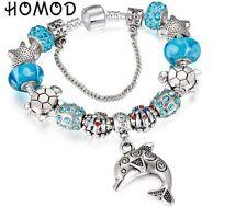 Silver Seaworld Dilphin Turtle Bracelet Charm Sliding Beads Blue Crystal Gift BN