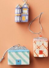 "NEW ANTHROPOLOGIE ORNAMENT SET OF 3 ""TINSELED TOWN"" HOUSES HOLIDAY CHRISTMAS"