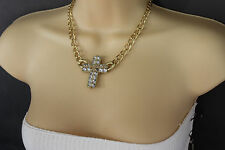 Women Gold Fashion Jewelry Necklace Metal Chain Charm Cross Pendant Bling Silver