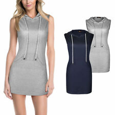 Cotton Blend Hooded Patternless Casual Dresses for Women