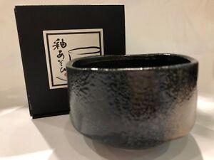 Japanese Matcha Bowl Black Sunafuki Minoware Made in Japan NEW F/S