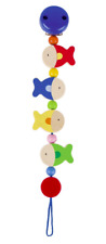HEIMESS 734610 Wooden Fishes Clip on DUMMY/SOOTHER/PACIFIER Chain Baby NEW