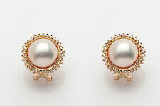 Estate $3400 Natural Mabe Pearl Diamond 14k Yellow Gold Leverback Earrings