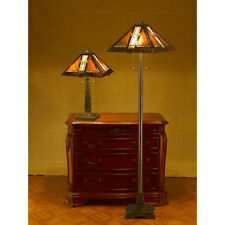 "Tiffany-style Aztec Mission Lamp Set 16"" Shade"