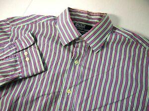 Polo Ralph Lauren Mens Dress Shirt 16 1/2 34/35 Colorful Red Green Stripe Curham
