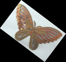 Applikation Hotfix Patch Schmetterling in Gold mit Pailetten Orange Nr. 22