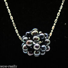 Beautiful 14mm Black Freshwater Pearl Ball Pendant Necklace Chain 17''