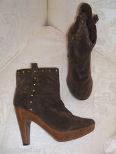 PRIMARK SIZE 7 40 BROWN FAUX SUEDE STUDDED WOOD HIGH HEEL ANKLE BOOTS NEW