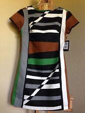 DEREK LAM For DesigNation DRESS Size: 4-6 Graphic Surf Linen Summer NEW 👗Платье