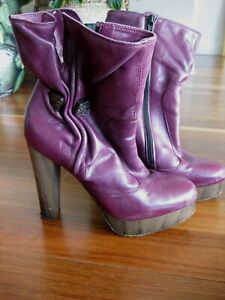 MISS SIXTY 1970's Style Leather Platform  BOOTS Heels Shoes Size 39 9 Vintage