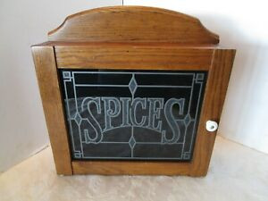 """Vintage CORNWALL OAK WOOD KITCHEN SPICE CABINET GLASS DOOR Wall table top 16"""" T"""