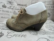 I Love Comfort Taupe Brown Wing tip Lace Up Heeled Oxford Ankle Shoe Size 6.5 M