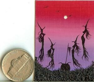 ORIGINAL 2x1.5 Acrylic Miniature Painting Witches Halloween Picture Art HYMES