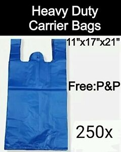 "HEAVY DUTY BLUE VEST CARRIER BAGS (250x BAGS) 11""x17""x21"""