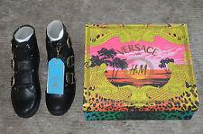 Versace x H&M Black Leather Triple Buckle Biker Boots Mens Size UK 8 US 9 EU 42