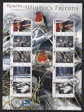 île de Man 2004 Winter's Friends - Rouges-gorges FEUILLET très bien utilisé