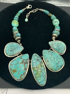 Estate Echo of the Dreamer Large Chinese Turquoise Necklace Sterling Silver