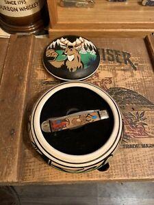 Navajo Doris Yazzie Custom Two Blade Case Trapper 2254 Knife & Ceramic Custom Bx