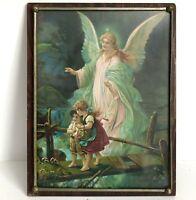 "The Guardian Angel Wood Plaque Glass Picture 13"" Children Vtg Antique Print"