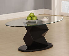 Coffee Table Clear Glass Oval Top Gloss Black Edged Frame Modern Designer Table