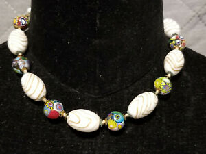 VINTAGE GLASS BEADS AND MILLEFIORI BEADS NECKLACE / CHOKER -- 5337