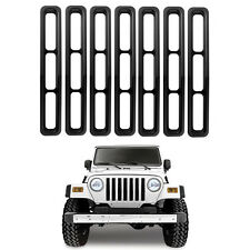 7Pcs ABS Matte Black Front Grille Inserts Cover For Jeep Wrangler YJ 1987-1995