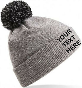Personalised Custom Embroidered PomPom Beanie Hat, Heather/Black,Text/Logo