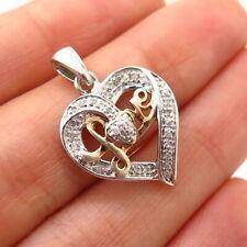 """925 Sterling Silver 2-Tone Real Diamond """"Love"""" Open Heart Design Pendant"""