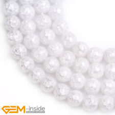 "Round White Crackle Rock Quartz Gemstone Loose Beads For Jewellery Making 15"""