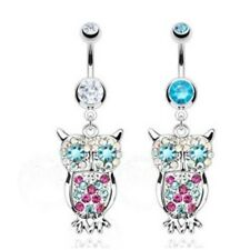 RAINBOW CZ GEMS PAVED OWL BELLY NAVEL RING DANGLE BUTTON PIERCING JEWELRY
