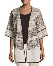 NWT XL Ming Wang Scroll-Knit Half-Sleeve Open Loose Fit Jacket Brown Print $400