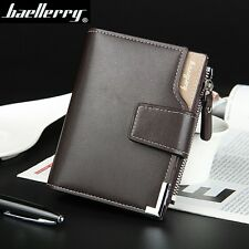 Leather Men Wallets Business Casual 3 Fold Hasp Zipper Credit Card Holder Wallet