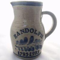 Westerwald Pottery Salt Glazed Stoneware Pitcher RANDOLPH 1793-1993, Blue & Grey