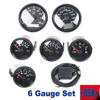 6 Gauge Set With Senders 8000MPH Speedometer Tacho Fuel Temp Volt For Car BOAT