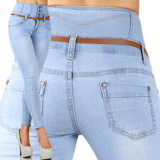 Sexy Women's Stretchy Jeans Trousers High Waisted Skinny Slim Incl Belt  N 157